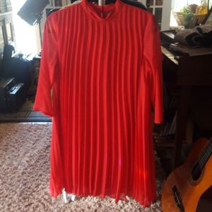 NWT Red Pleated Mod-Inspired Dress